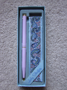 Sheaffer White Dot Ball Point Pink Pen with Tapestry Pouch