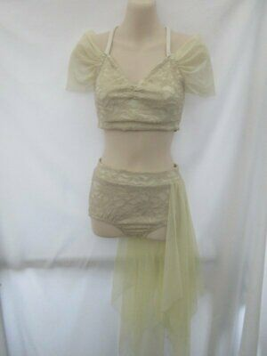 Two Piece Cream White Lace Lyrical Contemporary Dance Costume Small Adult SA