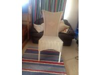 Chair, dining, white, wicker