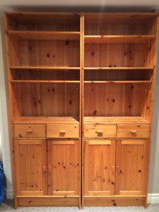 Ikea solid pine wall unit, clear finish