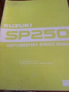 Sold 1982 Suzuki SP250 Supplementary Service Manual