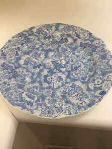 Vintage English Blue Floral Porcelain Plate/Platter