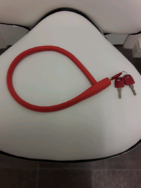 BICYCLE LOCK 62CM LONG (KNOG) RED WITH 3 KEYS (NEW)