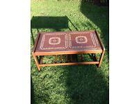 Mid century teak retro tiled coffee table