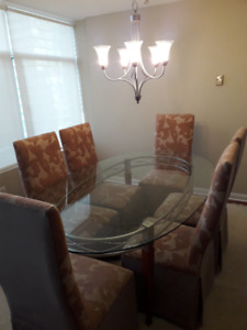 Gently used glass dining room set and matching 5 shelves stand