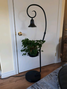 Metal plant stand with bell light