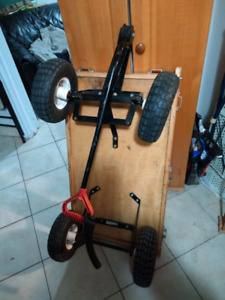Wood Home Hardware Wagon, air filled pneumatic tires.