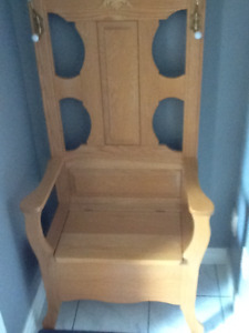 Solid oak hall tree with storage bench