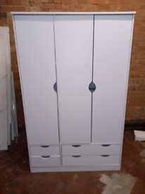White 3 door Wardrobe only £125. CLOSING DOWN SALE. Furniture Supersto