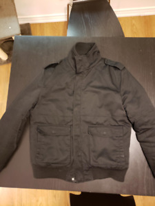 H&M Black Bomber Jacket, Quilted Lining - 40R