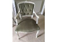 French painted shabby chic Louis XVI arm chair