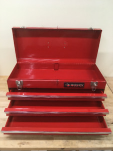 "Toolbox, 21 inch long, portable, ""Husky"", opening drawers, tray."