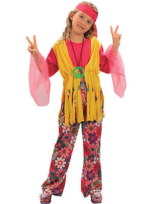 Hippy Kids Girls Costume 1960s Hippie 60s 70s Childs Fancy Dress Up 3-13 Go-Go