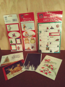 136 Peel & Stick CHRISTMAS Gift Tags + 4 Cards/ENVs