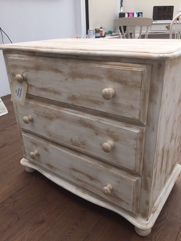 Pine Chest Of Drawers Painted In Annie Sloan Old White And