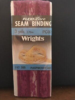 Wrights Flexi-Lace Seam Binding Raspberry #464; 3 (Flexi Lace Seam Binding)