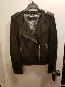 Ladies Collarless Soft Leather Jacket