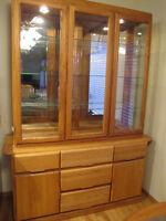 Solid Oak Sideboard & Glass Hutch