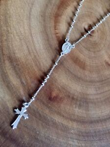 925 Sterling Silver Rosary Beads Necklace