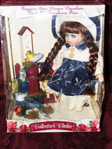 PORCELAIN DOLL With Bird House in Sealed Box