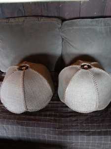 Large Lamp Shades Brown Wicker Style Set of Two