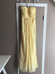 David's Bridal Strapless Dress in Canary Yellow FOR SALE