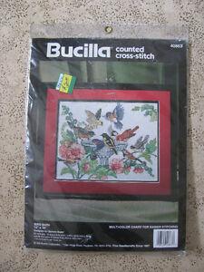 Bird Bath 13 X 10 NIP Bucilla Counted Cross Stitch Kit # 40863.