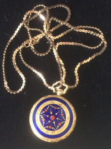 18k Solid Gold Blue Enamel Pocket Watch
