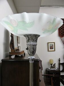 Antique Torchiere Lamp, Original Glass Shade, Working, Beautiful London Ontario image 1