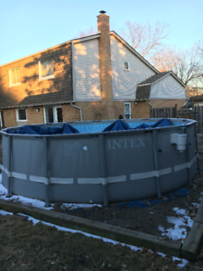 Intex 16' x 4' above ground pool with salt system & sand filter