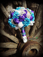 Unique Brooch, Button, Feather, Paper, Fabric and Silk Bouquets