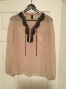 Vero Moda Nude See through with Black Lace Blouse size small