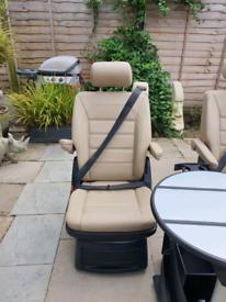 VW T6 REAR LEATHER SEAT SET x4 PLUS TABLE