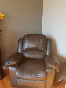 Leather couch with reclining rocking chair