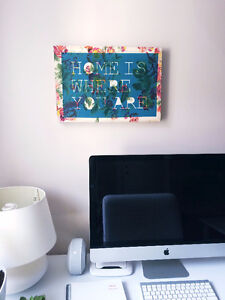 "Urban Outfitters ""Home"" Quote Canvas Art Print"