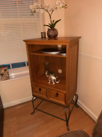 Wooden Unit with a metal stand