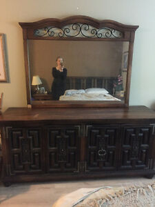 Antique Dresser with large Mirror and Bed Headboard