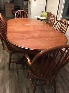 Oak table and 6 chairs