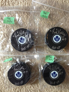 HOF inscribed autographed Johnny Bower & Red Kelly pucks London Ontario image 5