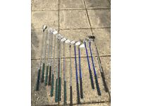 Range of different golf clubs