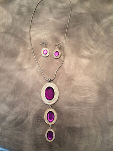 Purple and silver necklace and earrings