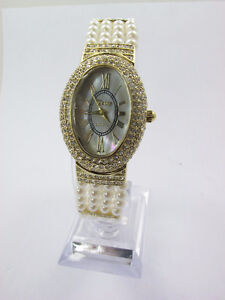 ►► Gorgeous Crystal Studded Oval Beaded Watch/Bracelet with Aust