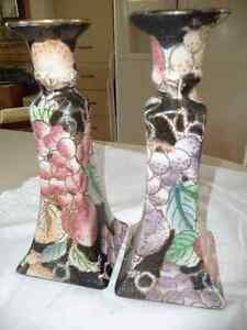 HAND PAINTED CANDLE STICK HOLDERS
