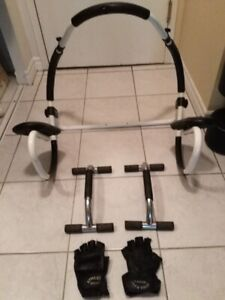 PUSH-UP BARS + AB ISOLATOR + WORKOUT GLOVES - $25 total