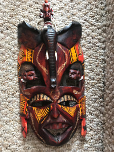 African face mask - wood, & two shields
