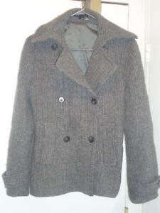 Theory Wool Knitted Pea Coat, Size M-L New!