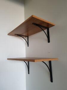 Oak and black metal wall shelves