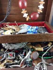 Wood Jewellry Box with a Plethora of Jewellry!