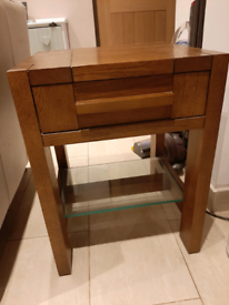 Side board unit and drawers - dark wood - matching pair