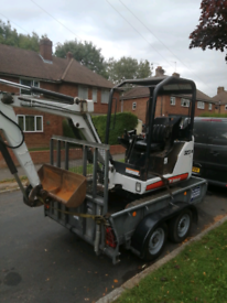 Mini digger and driver hire 1.5 ton